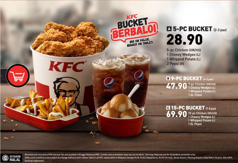 Senarai Harga KFC Bucket Malaysia 2020 Lengkap