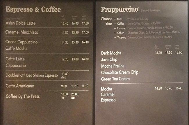 Menu Starbucks Malaysia